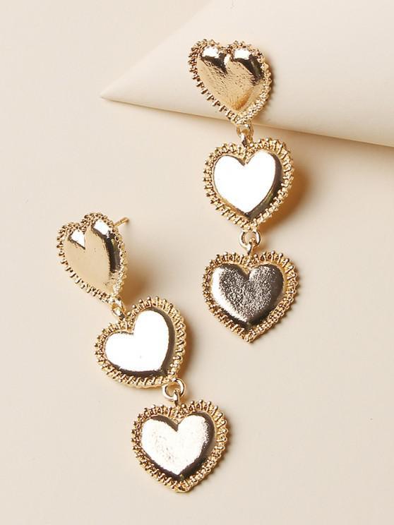 women Carved Heart Shape Drop Earrings - GOLDEN
