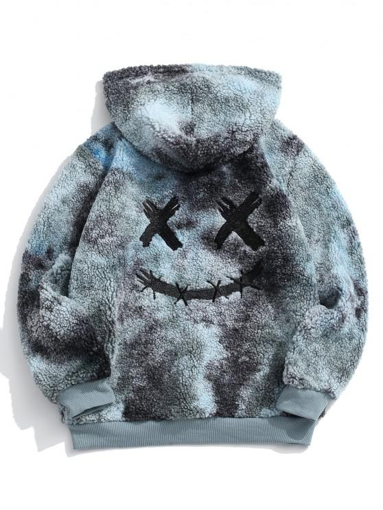 shops ZAFUL Tie Dye Funny Pattern Fluffy Hoodie - MULTI XL