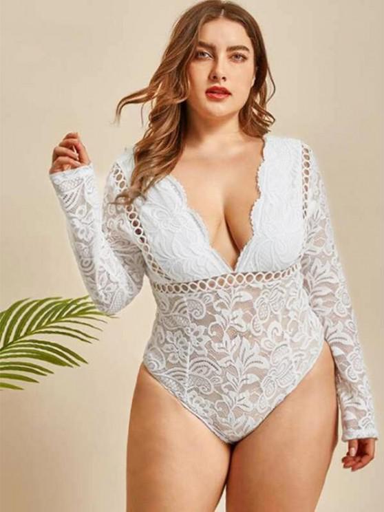 Plus Size Lace Snap Crotch Long Sleeve Bodysuit - أبيض 3XL