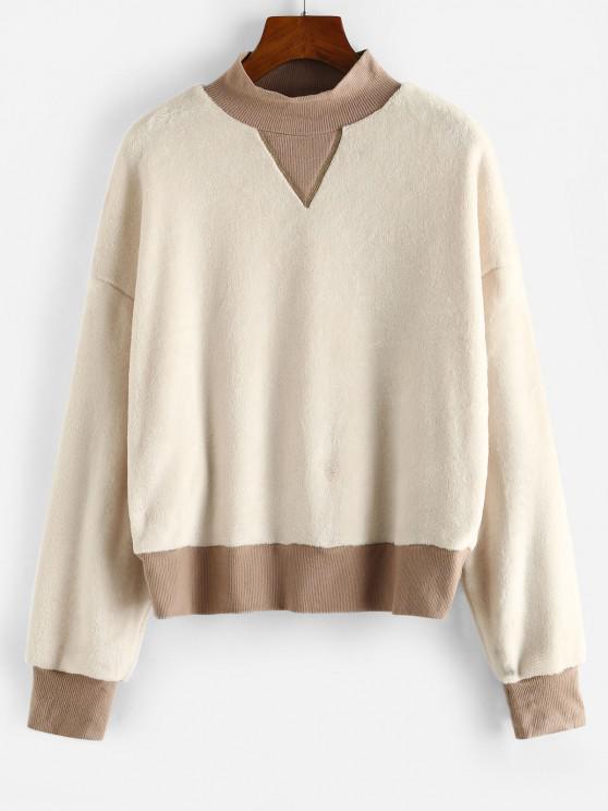 ZAFUL Mock Neck Ribbed Trim Fluffy Fleece Sweatshirt - أبيض XL