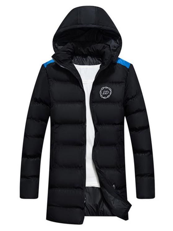 chic Hooded Letter Print Graphic Embroidered Puffer Coat - BLACK XS