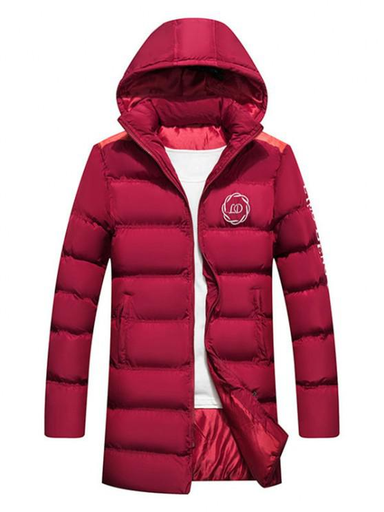 chic Hooded Letter Print Graphic Embroidered Puffer Coat - RED WINE XS
