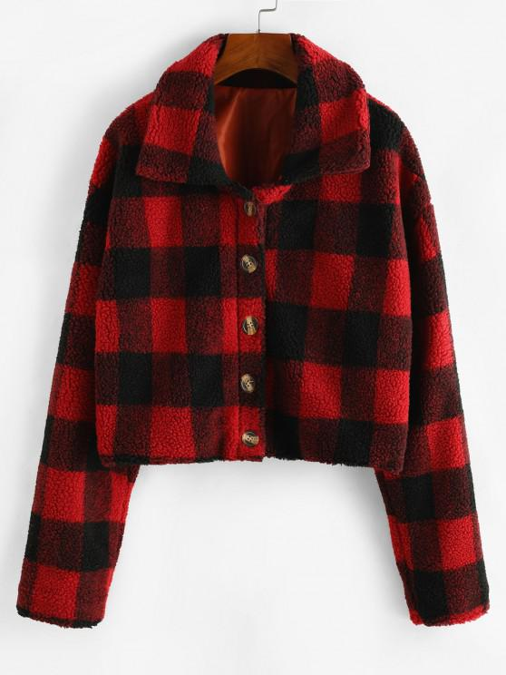chic Plaid Button Up Borg Teddy Jacket - RED L