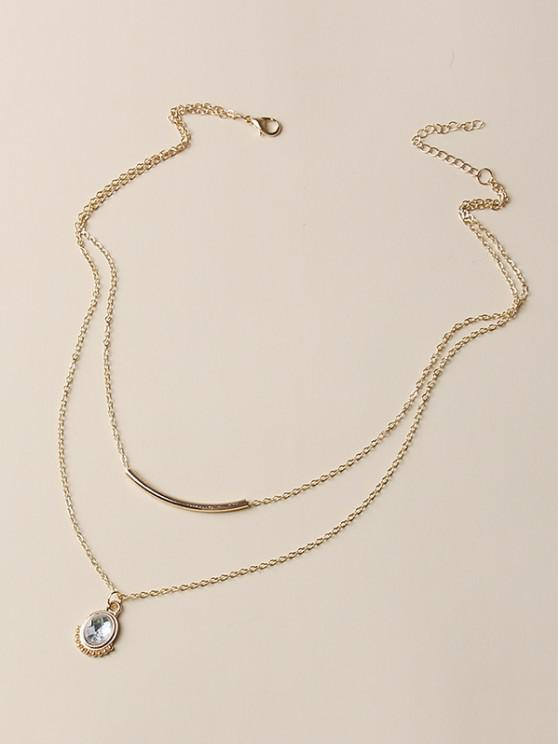 sale Oval Faux Crystal Layered Necklace - GOLDEN
