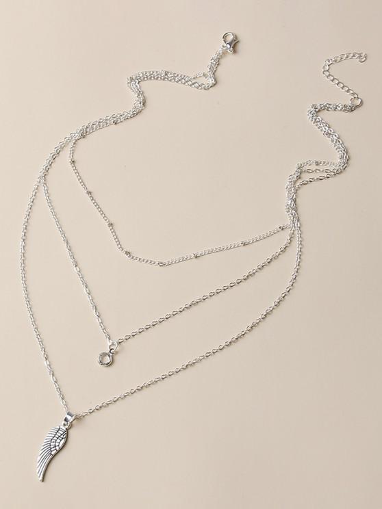Wing Shape Pendant Layered Necklace - فضة