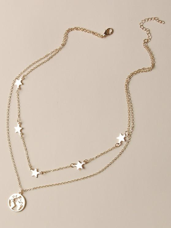 buy Hollow Map Star Layers Necklace - GOLDEN