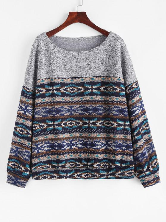 ZAFUL Loose Tribal Print Fleece Lined Sweatshirt - ازرق غامق XL