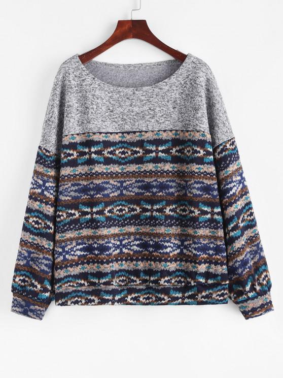 ZAFUL Loose Tribal Print Fleece Lined Sweatshirt - ازرق غامق L