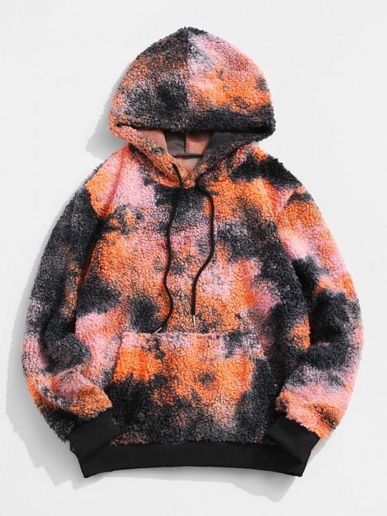 hot Tie Dye Pattern Kangaroo Pocket Teddy Hoodie - MULTI M