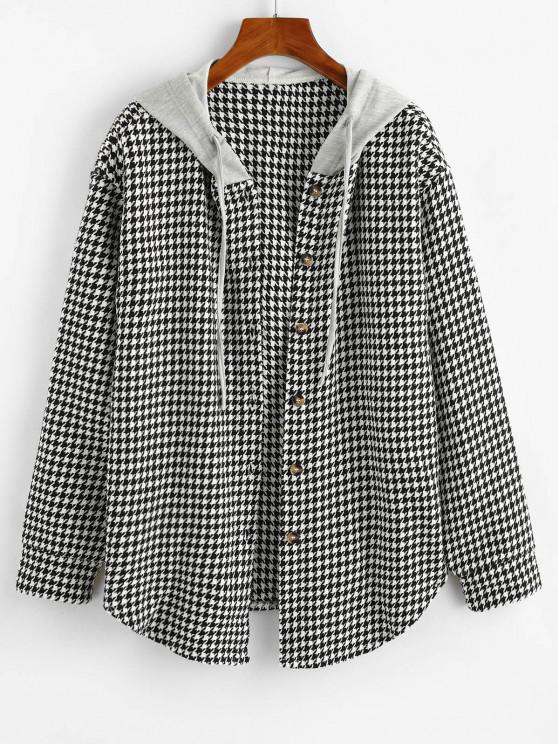 lady ZAFUL Houndstooth Button Up Combo Jacket - BLACK L