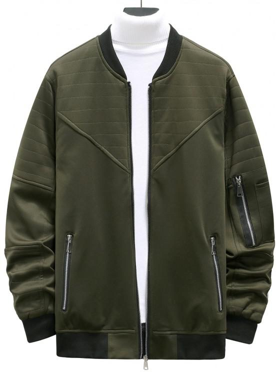 chic Zipper Pockets Stitching Detail Jacket - ARMY GREEN L