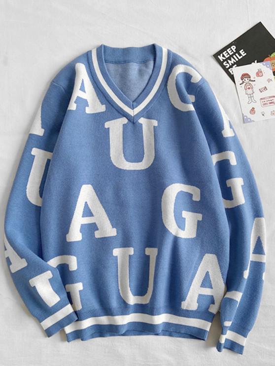 Buchstabenmuster V Ausschnitt Pullover - Seiden Blau S