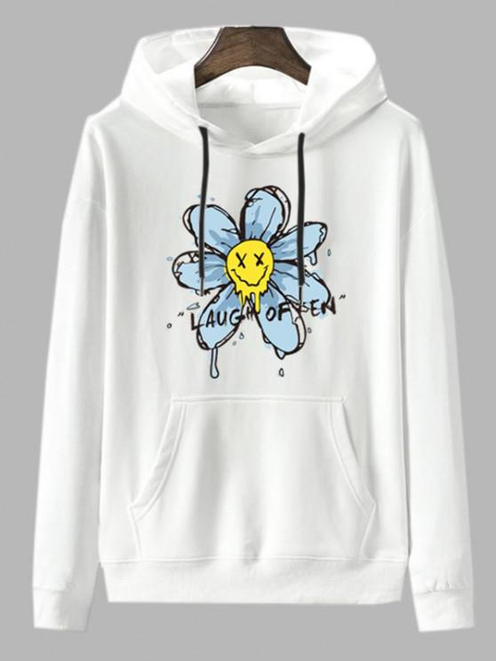 Laugh Often Floral Graphic Fleece Lined Hoodie - أبيض M