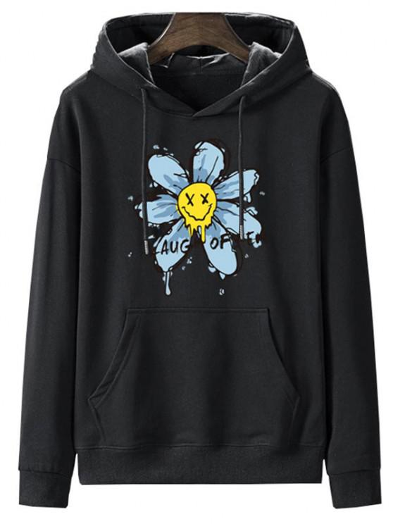 Laugh Often Floral Graphic Fleece Lined Hoodie - ليل L