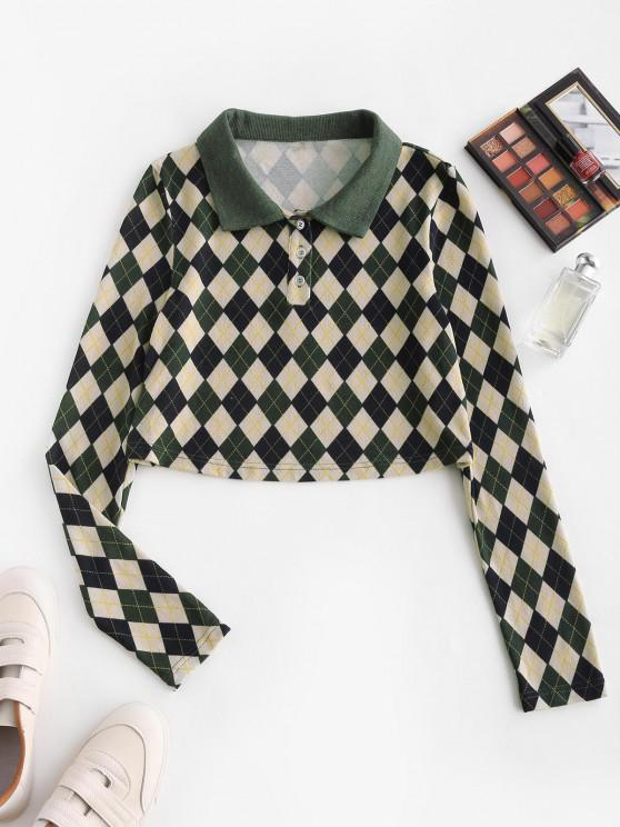 ladies ZAFUL Cropped Button Front Argyle Tee - DEEP GREEN M