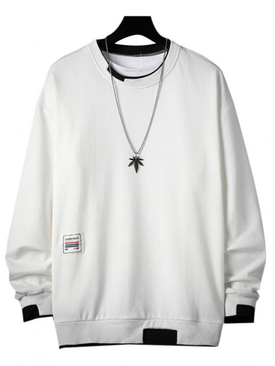 Letter Applique Contrast Faux Twinset Sweatshirt - أبيض 3XL