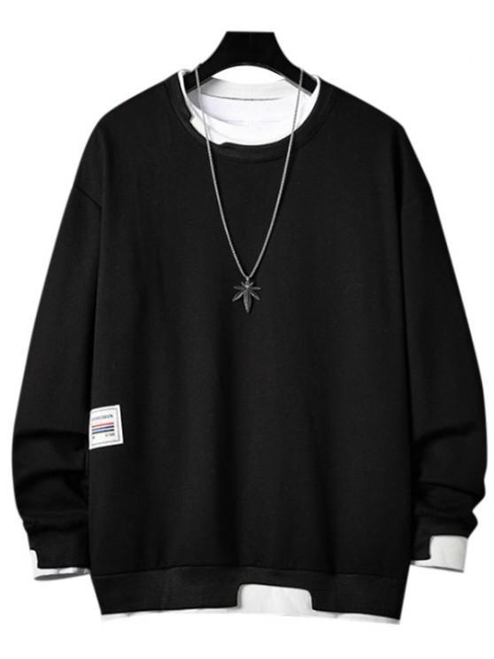 Letter Applique Contrast Faux Twinset Sweatshirt - أسود 3XL