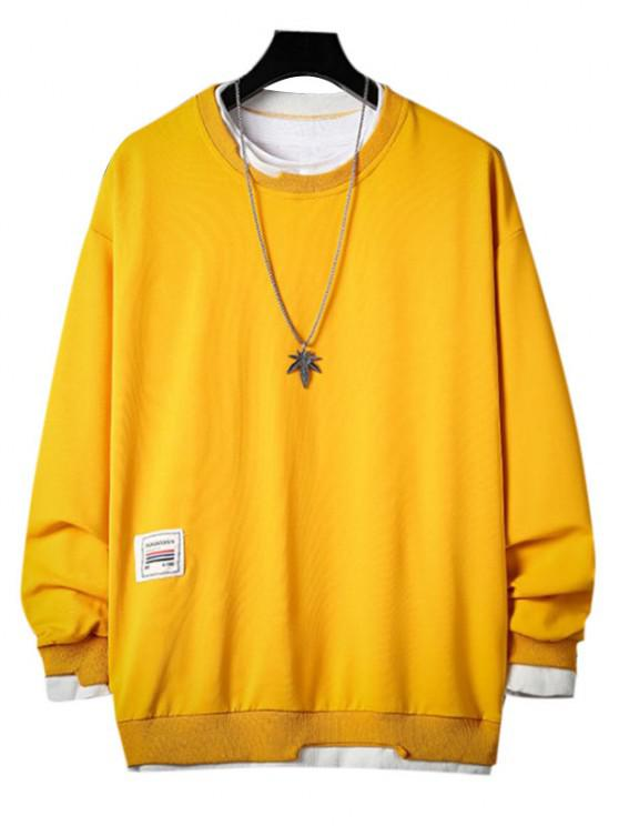 Letter Applique Contrast Faux Twinset Sweatshirt - الأصفر 3XL