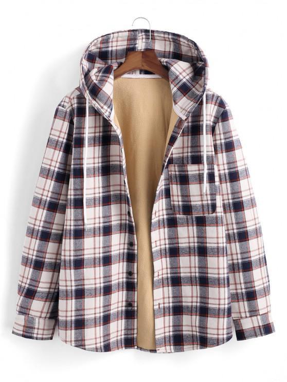 lady Hooded Plaid Print Fleece Pocket Jacket - DEEP BLUE L