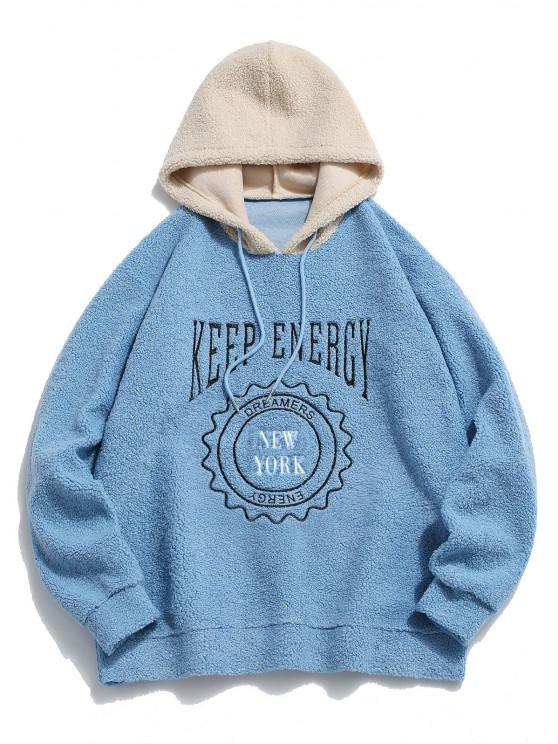 Keep Energy Graphic Colorblock Teddy Hoodie - أزرق فاتح L