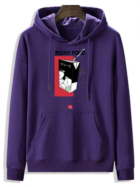 best Fleece Lined Front Pocket Drink Box Graphic Hoodie - PURPLE IRIS L