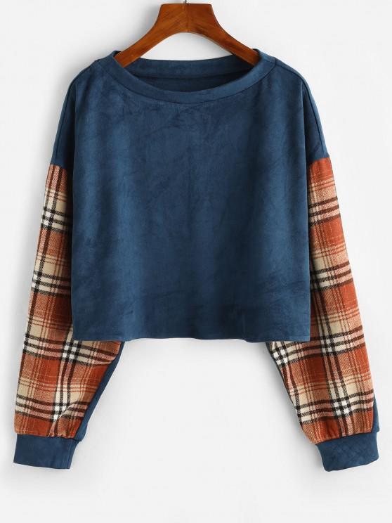 ZAFUL Drop Shoulder Plaid Panel Faux Suede Sweatshirt - أزرق S