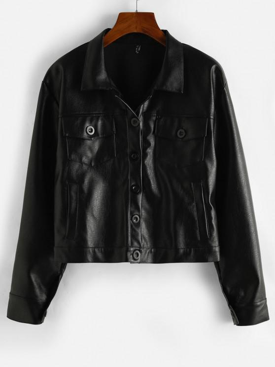 fashion ZAFUL Button Up Pockets Faux Leather Shacket - BLACK S
