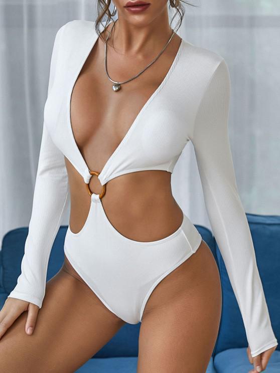 ZAFUL O Ring Plunge Cutout Long Sleeve One-piece Swimwear - أبيض S