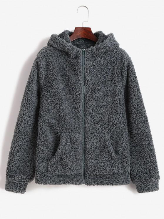 buy ZAFUL Hooded Fluffy Zip Pocket Coat - GRAY S