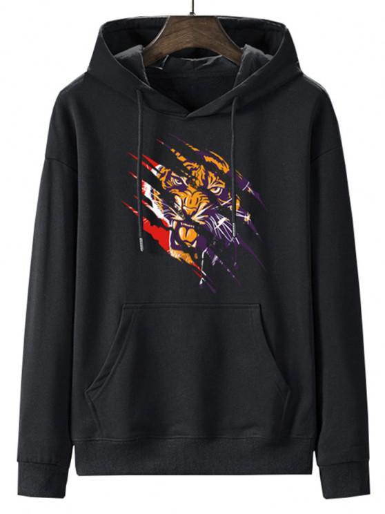 trendy Front Pocket Paint Splatter Tiger Fleece Lined Hoodie - NIGHT 2XL