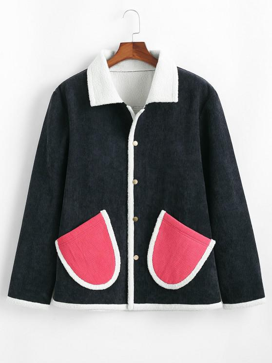 Contrast Double Pockets Corduroy Fleece Jacket - ازرق غامق 2XL