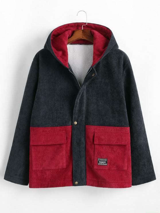 Hooded Double Pockets Contrast Corduroy Fleece Jacket - ازرق غامق XL