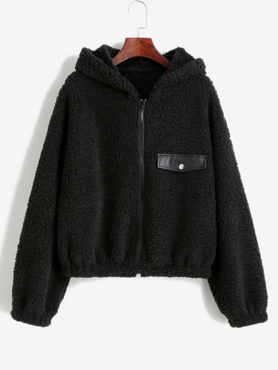 women's ZAFUL Faux Shearling Hooded PU Detail Zip Teddy Coat - BLACK S