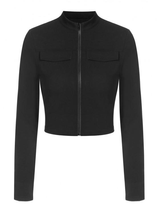 women's ZAFUL Flap Detail Zip Front Crop T Shirt - BLACK L