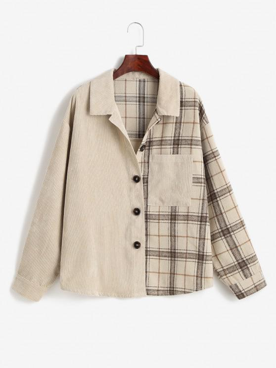 latest ZAFUL Corduroy Plaid Drop Shoulder Pocket Shacket - LIGHT COFFEE S