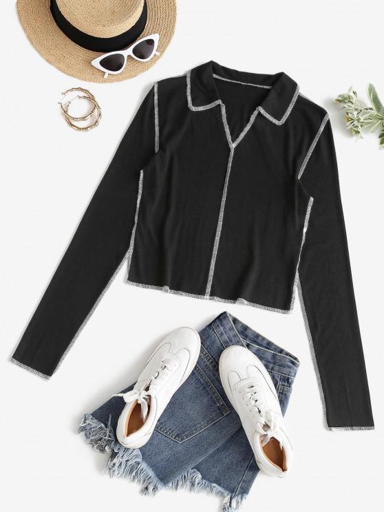 outfits ZAFUL Ribbed Topstitching T Shirt - BLACK XL