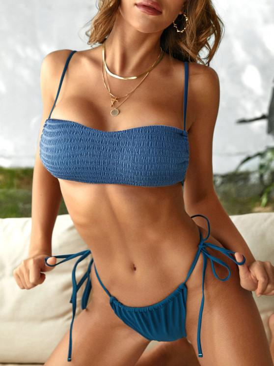 ZAFUL Tie Side Smocked String Bikini Swimwear - ازرق غامق S