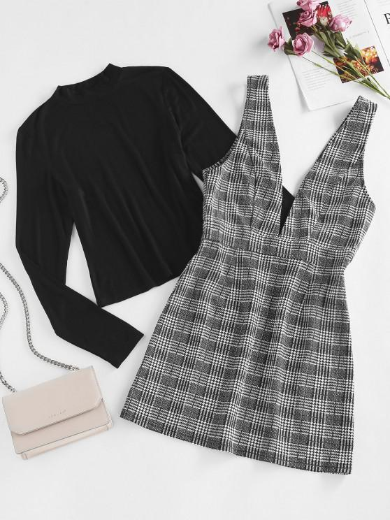 outfits ZAFUL Top and Plaid Mini Overalls Dress Set - BLACK S