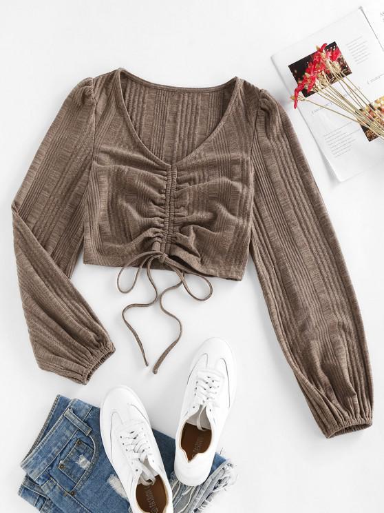 lady ZAFUL Ribbed V Neck Cropped Knitwear - CAMEL BROWN XL