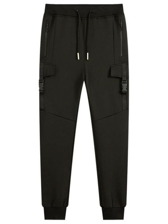 unique Zippered Pockets Push-buckled Jogger Pants - BLACK M