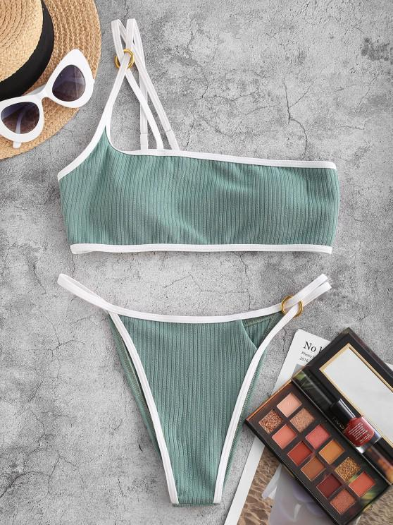 unique ZAFUL Ribbed O Ring One Shoulder Contrast Binding Bikini Swimwear - LIGHT GREEN L