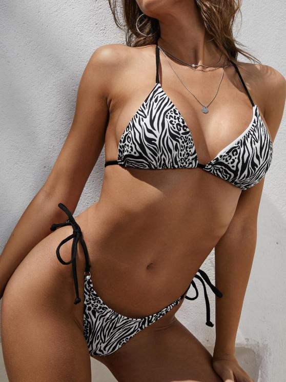 outfits ZAFUL Zebra Leopard Ribbed Tie Tanga Bikini Swimwear - BLACK S