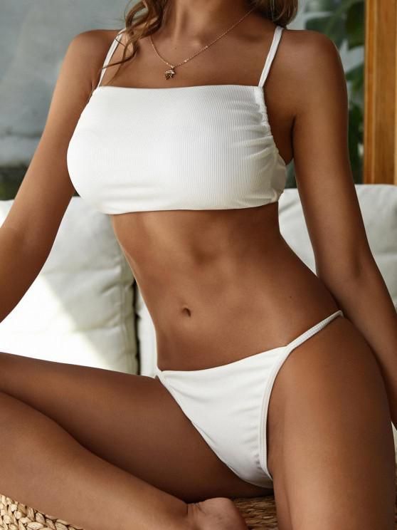 ZAFUL Kreuzer und Querer Gerippte Tanga Bikini Badebekleidung - Weiß S