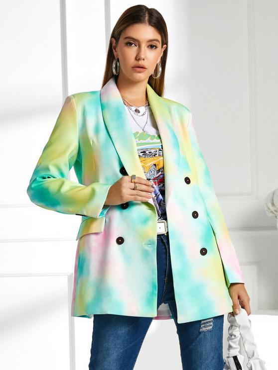 women Tie Dye Pocket Double Breasted Blazer - LIGHT GREEN S