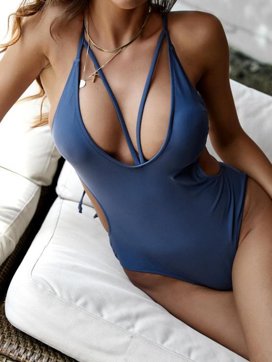 shop ZAFUL Cutout Crisscross Plunge One-piece Swimwear - DEEP BLUE L