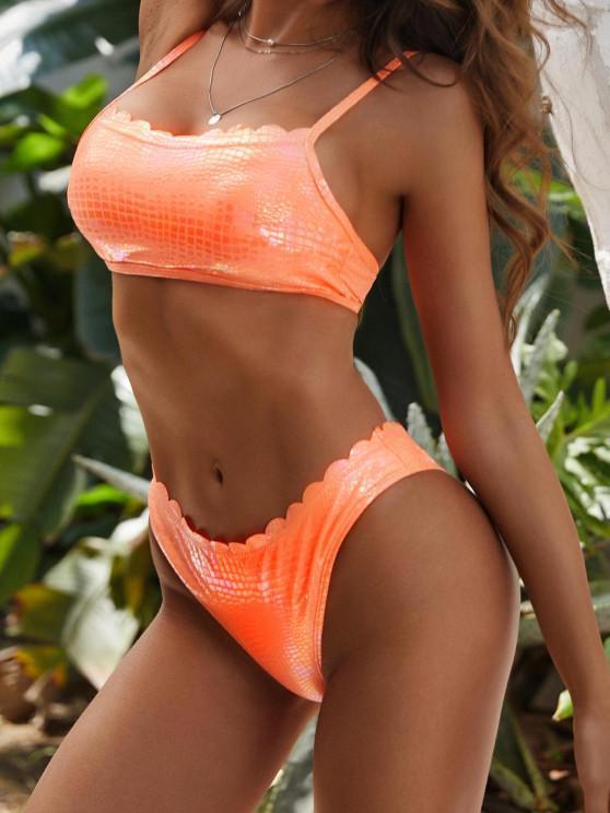 affordable Scalloped Trim Snakeskin Coated Disco Bikini Swimwear - DARK ORANGE M