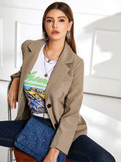 Button Up Shoulder Pads Pockets Blazer - Khaki S