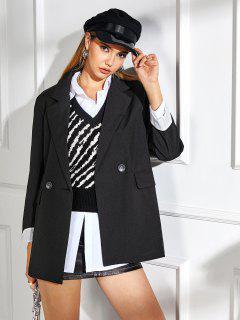 Striped Cuff Pocket Long Blazer - Black S