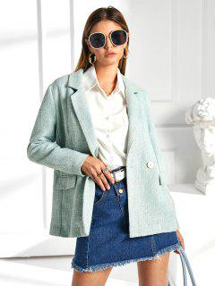 ZAFUL Flap Pockets Lapel Tweed Blazer - Pale Blue Lily S