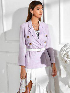 Solid Double Breasted Blazer - Light Purple M